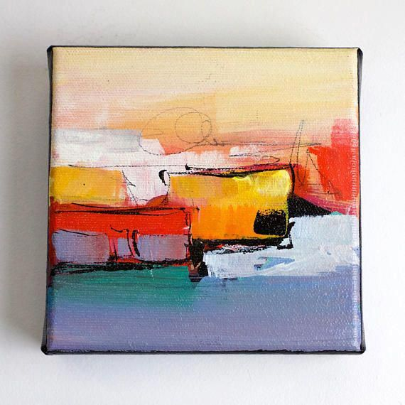 Colorful Abstract Acrylic Art Small 5x5 Canvas Painting On Abstractartpaintingstoinspire Malerier Abstrakt Billeder