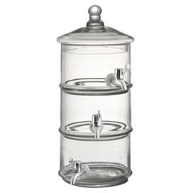 "Three-tier glass beverage dispenser.      Product: Beverage dispenserConstruction Material: GlassColor: ClearFeatures: Can hold three separate drinksDimensions: 15.7"" H x 5"" DiameterCleaning and Care: Hand wash"