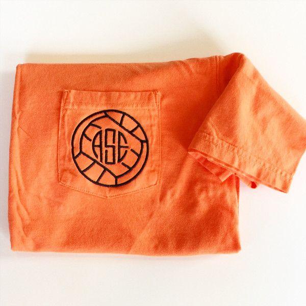Short sleeve comfort colors monogrammed volleyball pocket