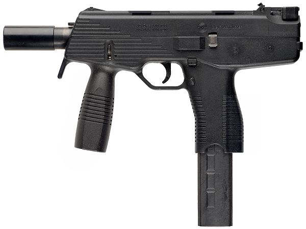Steyr TMP  Type: Machine Pistol         Caliber: 9x19mm         Weight: 2.9 lbs (1.3 kg)         Length: 11.1 in (28.2 cm)         Barrel length: 5.12 in (13 cm)         Capacity: 15, 20, 30         Fire Modes: Semi-Auto/Full-Auto
