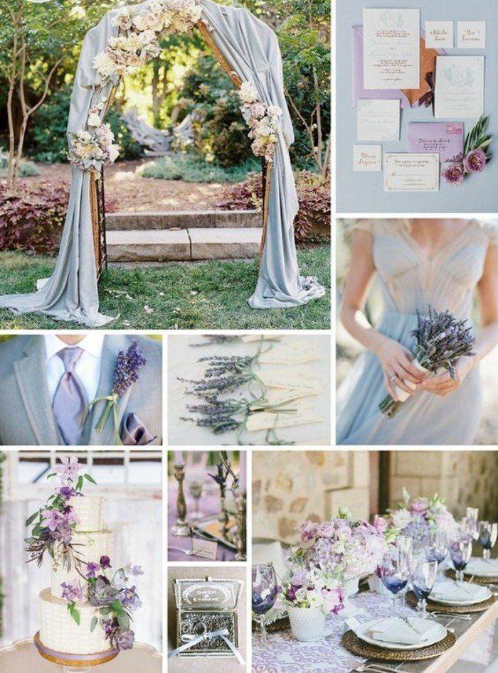 déco de mariage couleur lavande, arche mariage champêtre pour une ambiance romantique