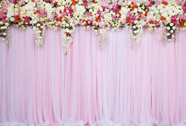 Kate Pink Wedding Flower Curtain Backdrop For Photo Party Pink