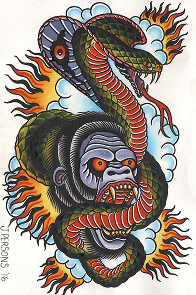 Gorilla & Cobra by Josh Persons Old School Color Tattoo Fine Art Print #TattooSleeves