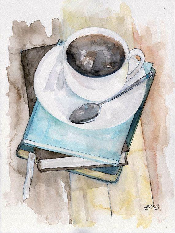 Coffee Mug Painting Print from Original by TheColorfulCatStudio, $25.00