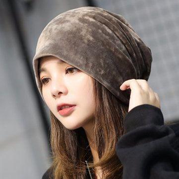 b4a5b337c2b Women s Solid Velvet Skullies Beanie Hat Casual Ear Protection Windproof Warm  Hat