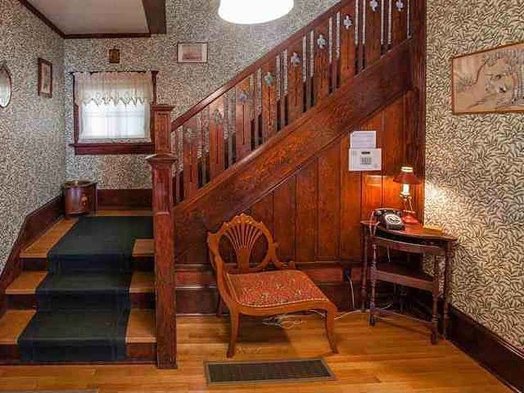 """1910 Craftsman House, Spokane, WA – stair hall, with William Morris """"Willow Bough"""" wallpaper (or something similar) – larger photos (without furniture) here: http://tours.tourfactory.com/tours/tour.asp?t=1101121"""