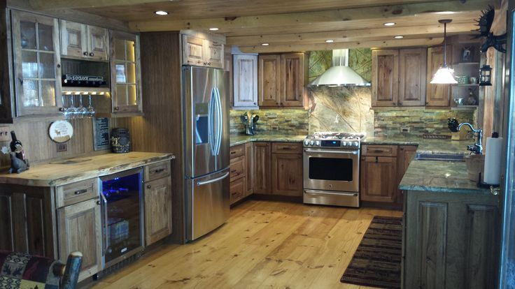 Legacy Cabinetry Rustic Hickory Mocha Stain Granite Rainforest Top Rustic Pinterest