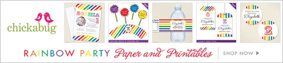 Chickabug rainbow theme paper goods & printables