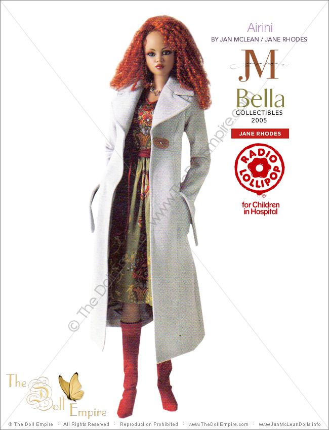 Airini by Jan McLean Doll Artist and Jane Rhodes Fashion Designer - Bella Collectibles - New Zealand Radio Lollipop Charity Auction