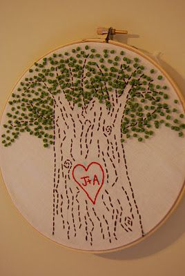 lovely embroidery love tree. Made for just the right wedding gift.
