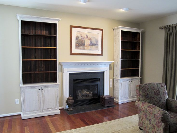Custom Bookcases Made To Fit On Either Side Of Fireplace