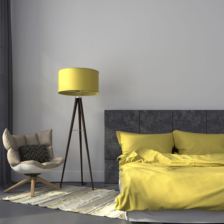 Yellow and Grey Bedroom Concept- Gracious Luxury Interiors