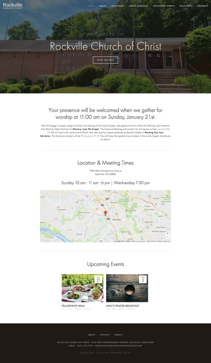 Nice and simple #church website. Like the big hero image of their church building. So visitors know where they are when they arrive. #gray
