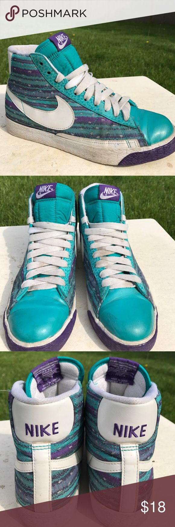 Nike Blazer Tribal Print Hightops These rare Nike Blazers are a size 8.5 in WOMENS.  These are definitely a statement shoe!  I love the bright turquoise and the Tribal print on the sides.  These are in good condition.  Laces would probably need to be replaced :) Nike Shoes Sneakers