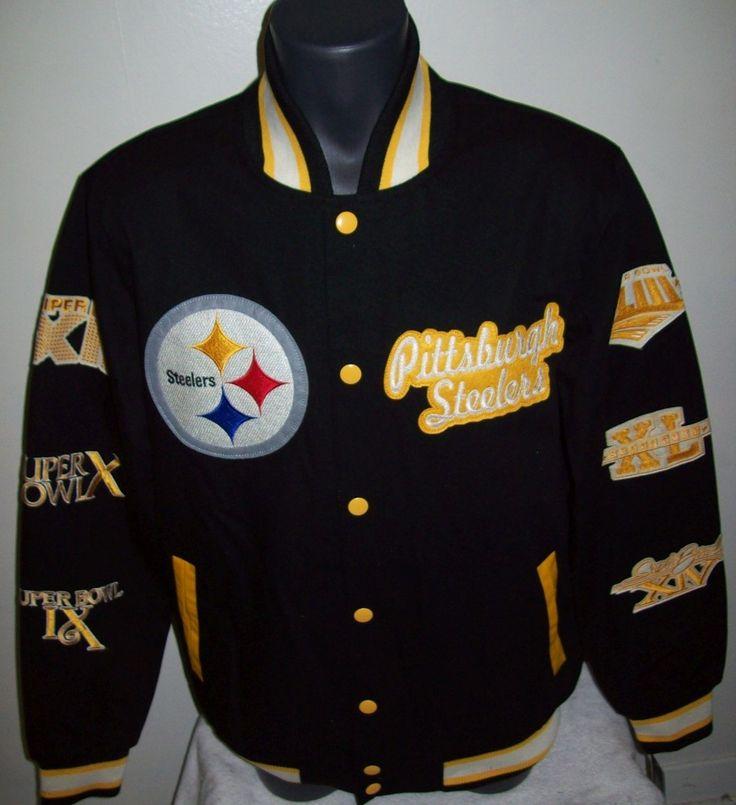 PITTSBURGH STEELERS SUPER BOWL CHAMPIONS Varsity Cotton Jacket M L XL 2X | eBay