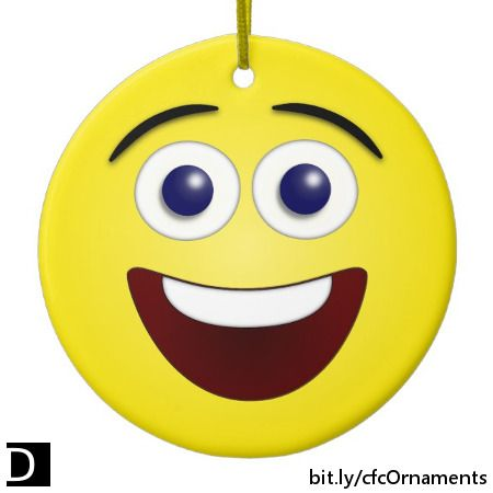How can you help but smile when looking at this adorable ornament which features a yellow laughing smiley face on both sides. #StudioDalio #smileyfaces #emoticons #Smiling #happyfaces #cheerfulart #ornament #ceramicornament #hangingdecoration #laughing