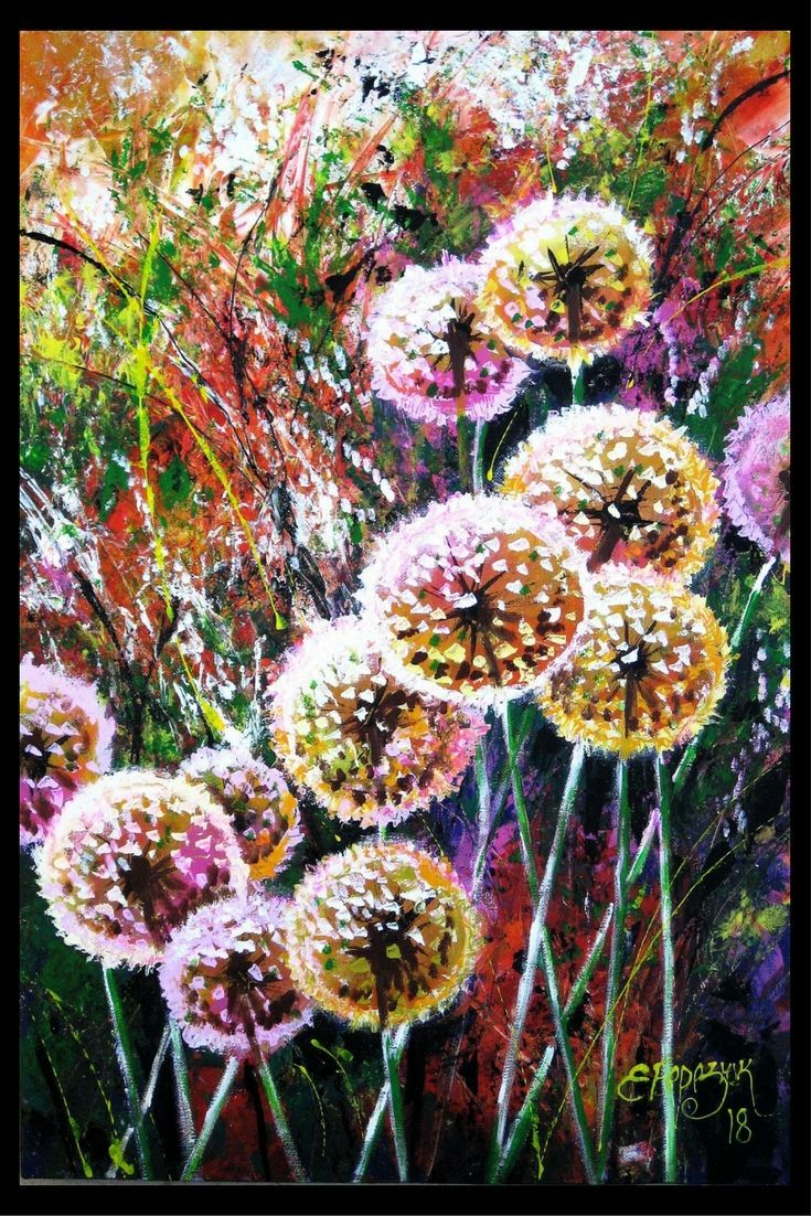 Dandelions painting. Home decor wall art.