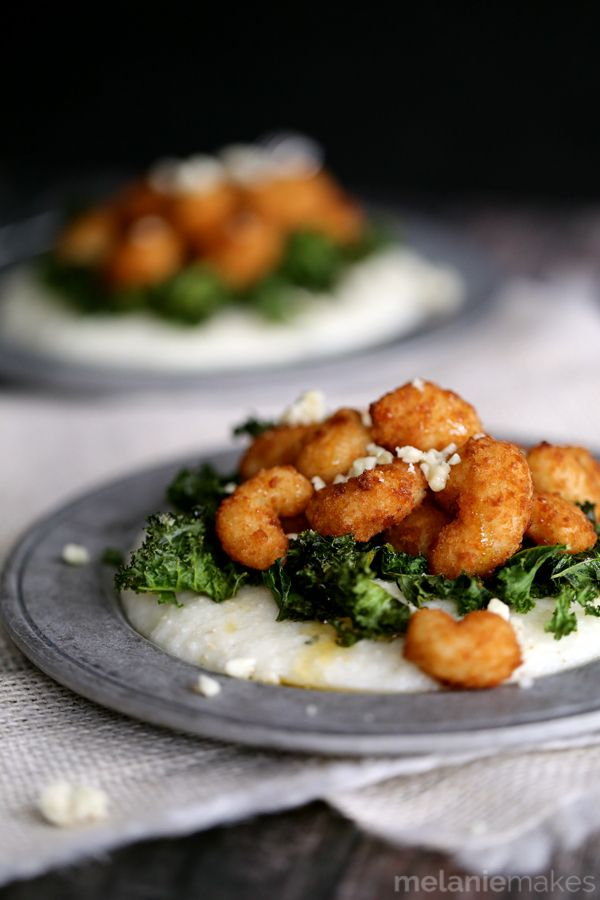 Honeyed Shrimp with Crispy Kale and Gorgonzola Grits