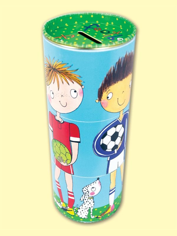 Football Fund! Swivel Money Box by Rachel Ellen Designs.  Save up for football kit, football tickets and other football treats in this fun swivel money box. The head, body and legs sections swivel independently so you can make your own kits and players!