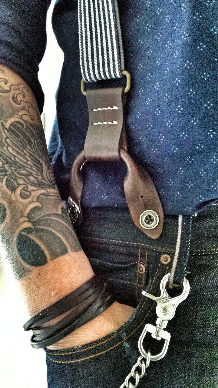 wearing my handmade suspenders Handmade: Duke & Sons Leather