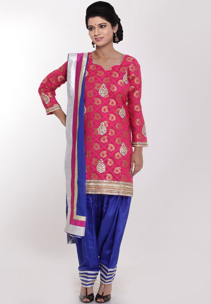 Pink art silk readymade kameez designed with beads, stone, zari and patch border work.
