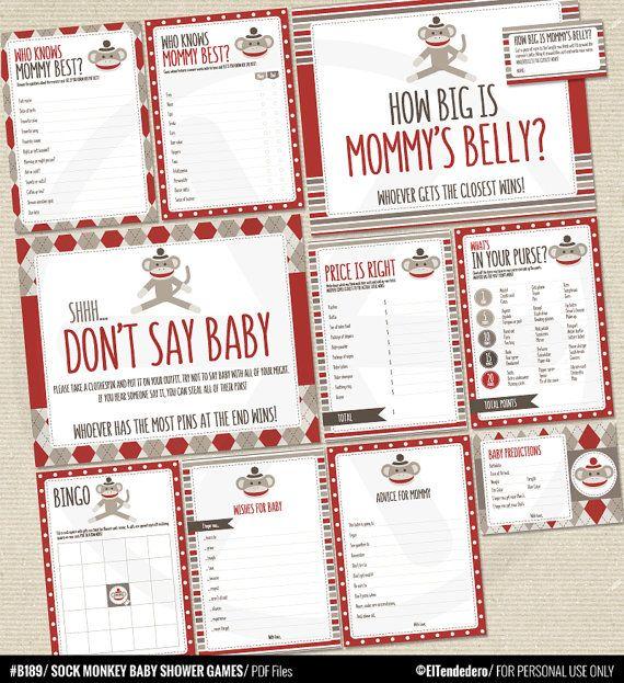 Juegos para baby shower con monos calcetín - Tarjetas y carteles para juegos - Archivos PDF imprimibles.