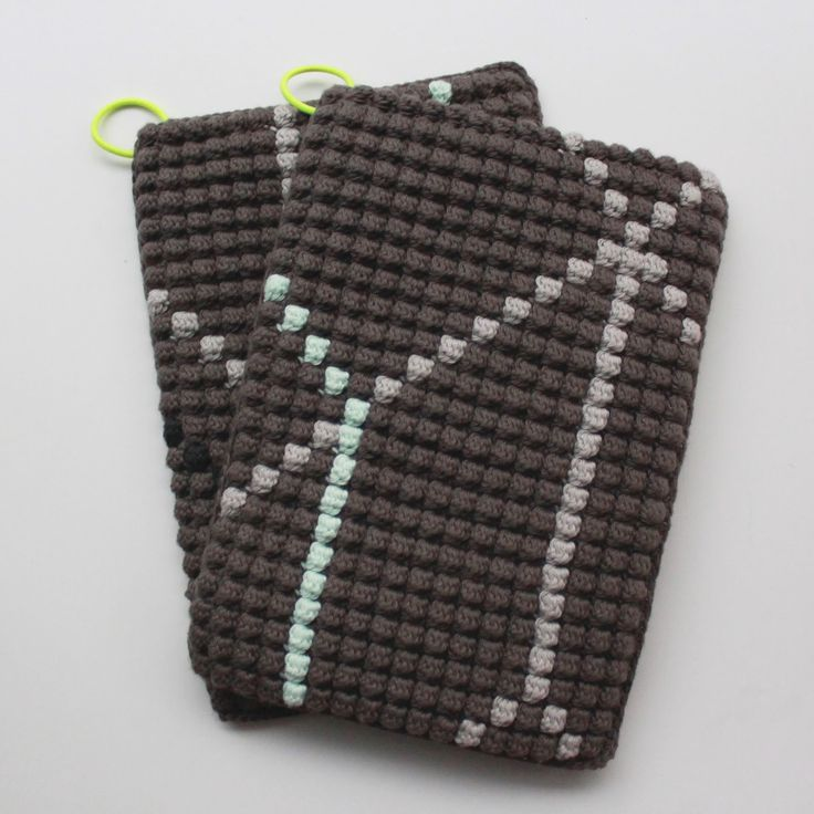 Opskrift på hæklede grydelapper med bobbelmønster / Crochet Potholders Pattern  