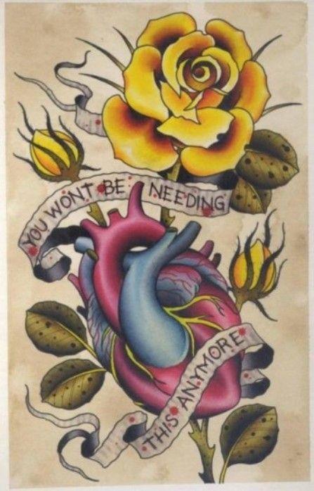 Cuore e rosa gialla in stile old school tattoo  Un esempio di tatuaggio del passato.