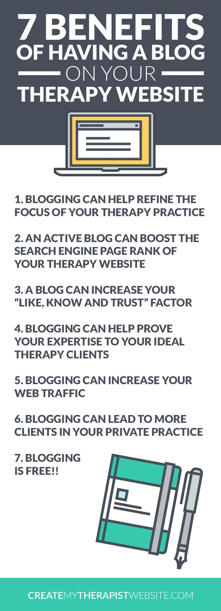 "Infographic: 7 Benefits of Having a Blog on Your Therapy Website // With all the talk out there about ""content marketing"" and blogging, it's really important to know if starting a private practice blog is right for you and your website. In this post we'll talk about the benefits of blogging and determine if this marketing strategy is right for you and your therapy practice. Click here to read:"
