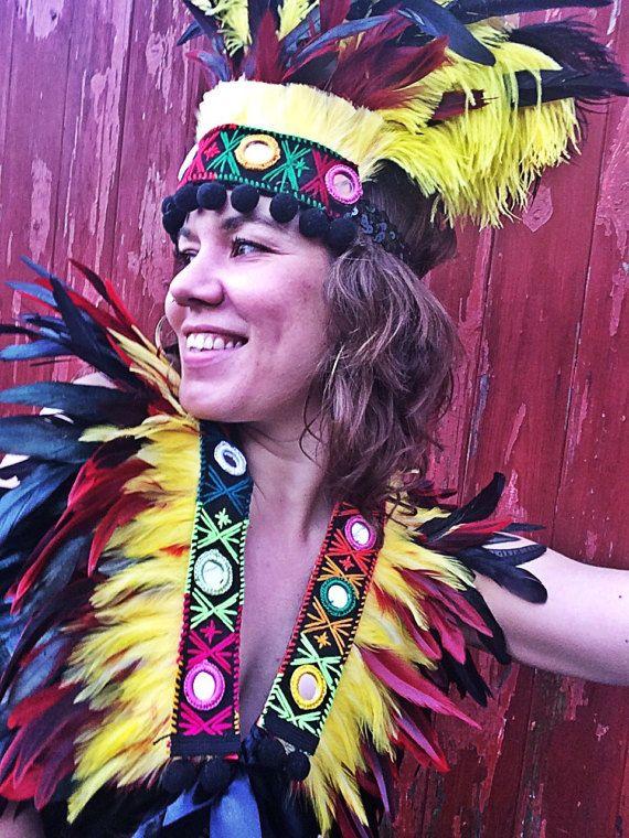 Tribal inspired headdress - Burning Man vibes. Search Etsy: feathersandthreaduk