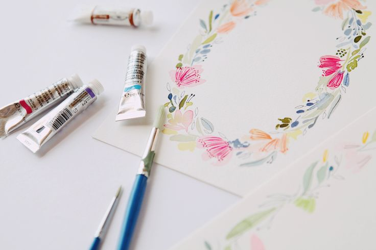 watercolour hand painted wedding invites