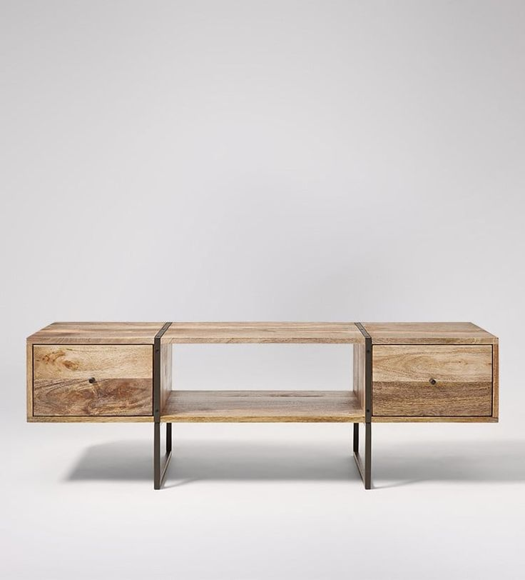 Mabley media unit in mango wood and charcoal