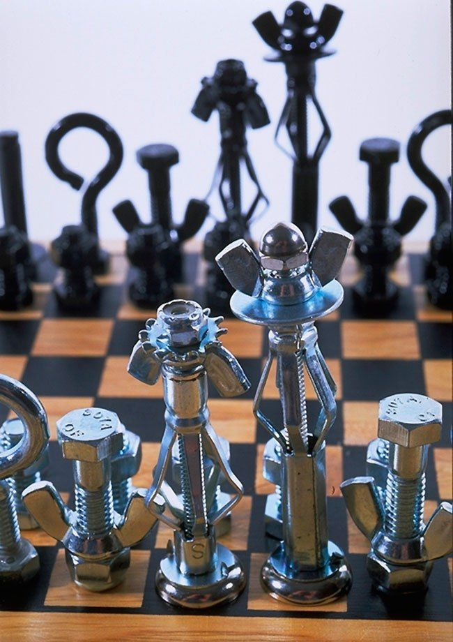projects ideas metal chess pieces. Use nuts and bolts from your tool chest to make a cool chess set  22 best Unique Chess Sets images on Pinterest games