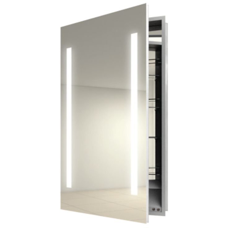 Ascension Left Recessed Medicine Cabinet By Electric Mirror Available In Satin Finish Designed For Humid Bathroom Environments
