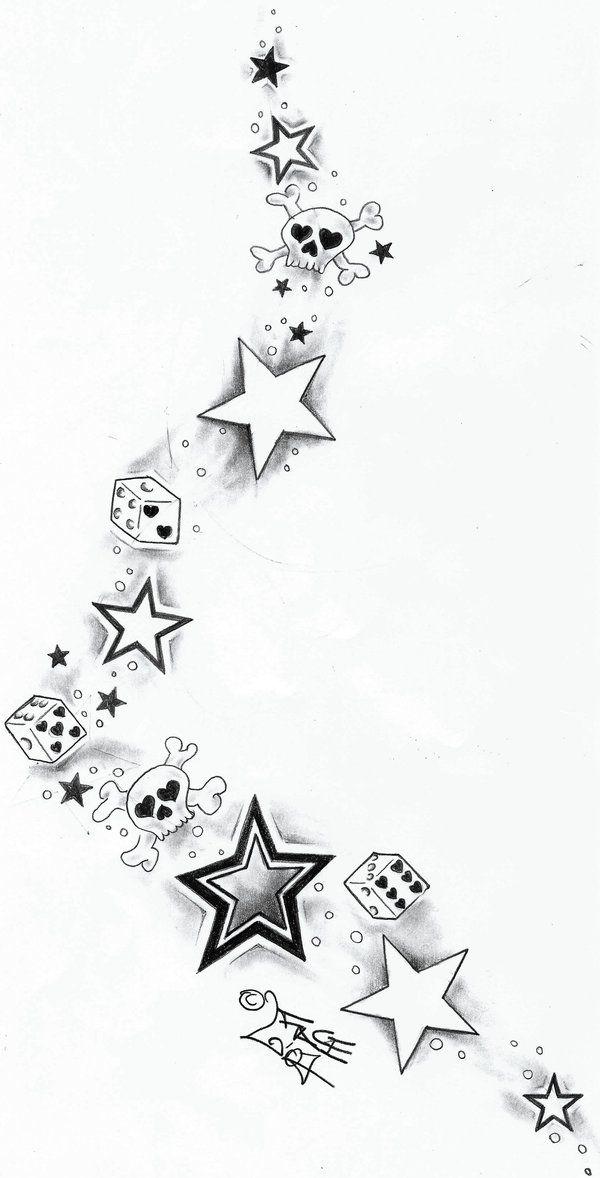 Skull Dices StarsTattoo Design by 2Face-Tattoo.deviantart.com on @deviantART