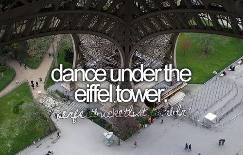dance under the eiffel tower.