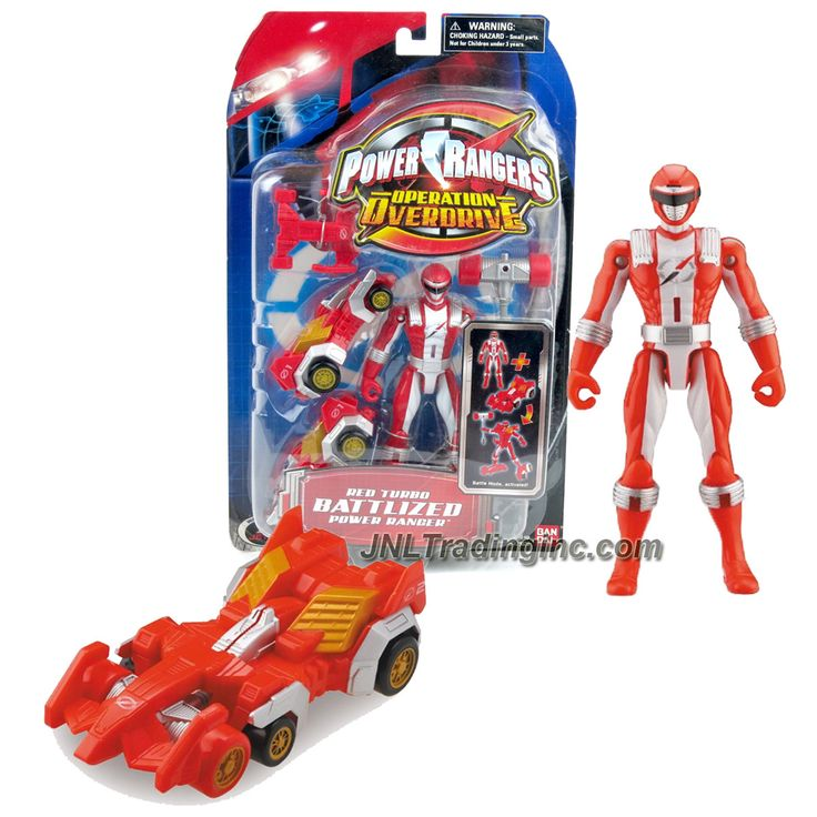 """Bandai Power Rangers Operation Overdrive Series 5-1/2"""" Tall Figure Set - RED TURBO BATTLIZED POWER RANGER with Vehicle Battle Gear"""