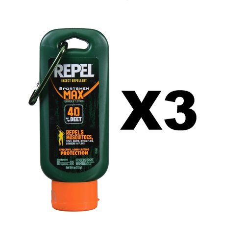 Repel Insect Repellent Sportsmen Max Formula Lotion 4oz Bug/Mosquito (3-Pack)