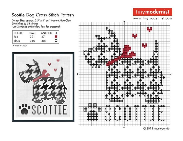 Free Houndstooth Scotty dog cross stitch chart #stitching #animals