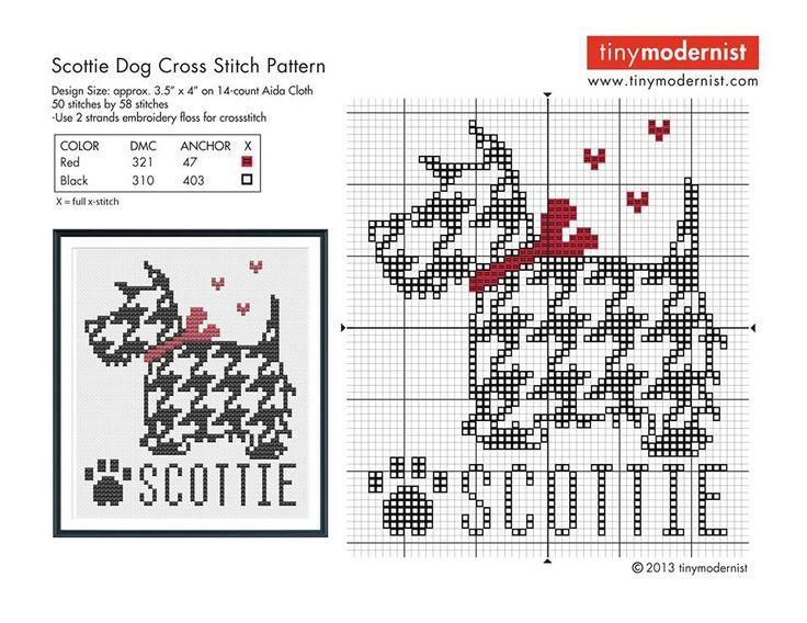 Free Houndstooth Scotty dog cross stitch chart #stitching #animals