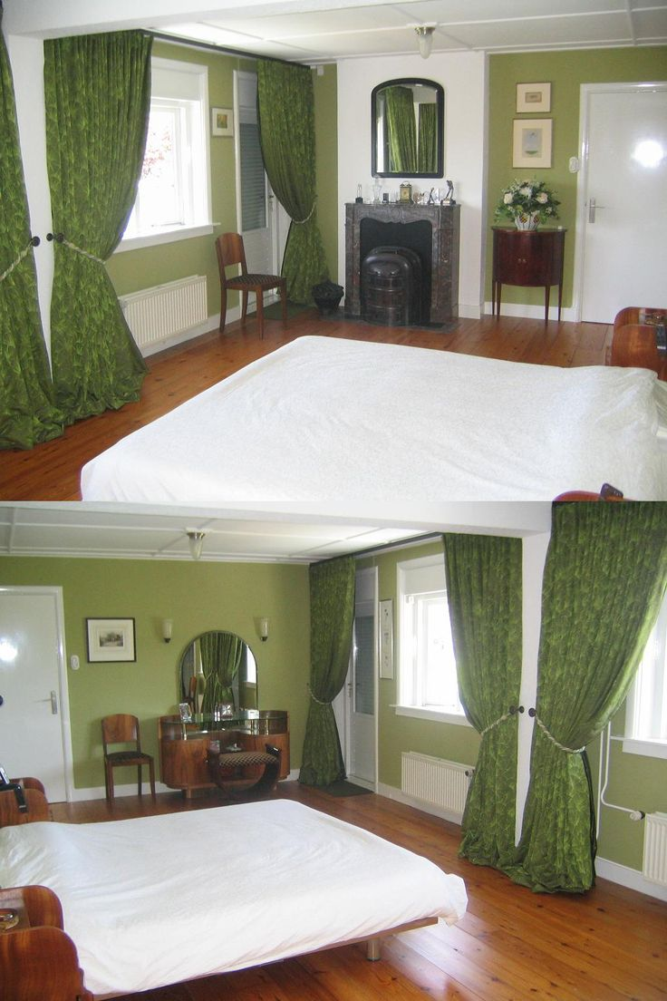 Gordijnen, behang, verlichting en meubilair van artdecowebwinkel.com in een prachtige Art Deco slaapkamer.