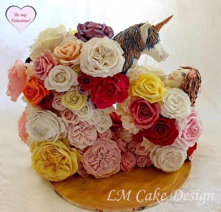 Be My Valentine Unicorn and Maiden Rose Cake - Cake by Lisa Templeton