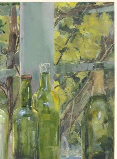 Vensterbank met flessen, een glazen bol en een appel, Menso Kamerlingh Onnes, ca. 1892 - Stilleven-Verzameld werk van Marjolein Moonen - Alle Rijksstudio's - Rijksstudio - Rijksmuseum