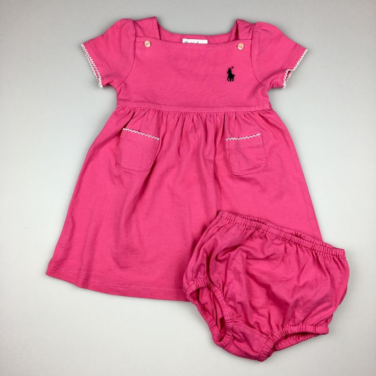 RALPH LAUREN, baby girl's pink cotton dress and bloomers, excellent pre-loved condition (EUC), size 9 months, $20