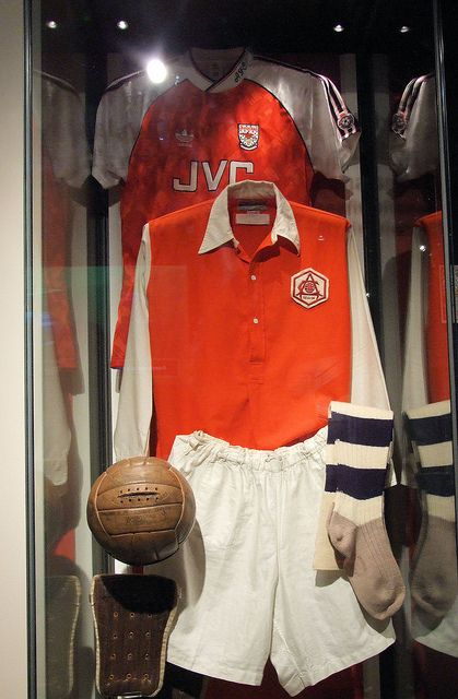 Two Arsenal kits from different... At the Emirates museum in London. Love u Gunners!