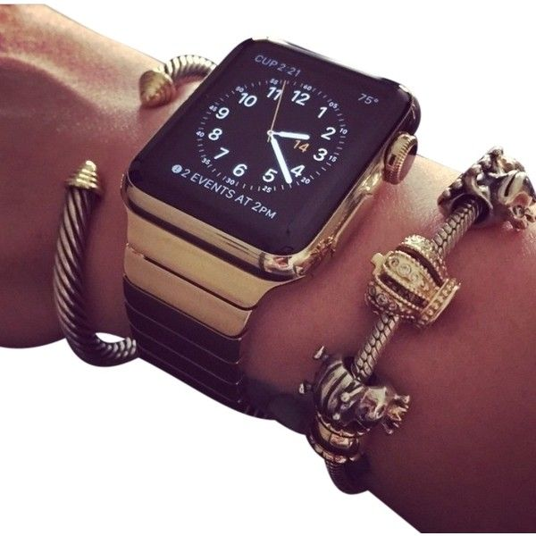 Pre-owned Apple Watch 38mm 18k Gold Plated Case With Steel Link... ($990) ❤ liked on Polyvore featuring jewelry, watches, accessories, gold plated, apple sport watch, sport watches, 18k gold plated bracelet, white gold plated bracelet and 18k watches