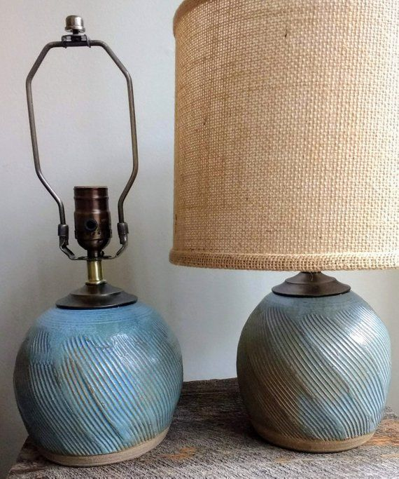 Handmade Table Lamp Carved Pottery Lamp Base Neutral Lamp Unique Home Lighting Ceramic Lamp Ceramic Table Lamp Pottery Lamp Blue Lamp Handmade Table