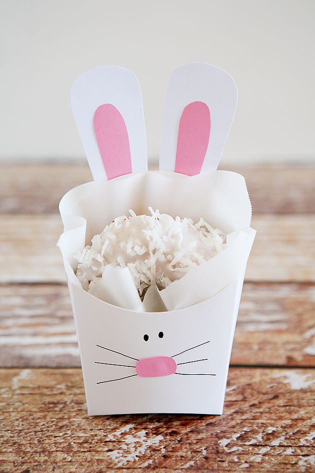 These cute bunny boxes can be filled with practically any kind of treat or surprise for Easter.