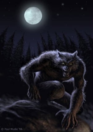 Lycanthropes or Werewolves are mythological humans that have the ability to shift shape into wolves or anthropomorphic wolf-like creatures.  They can infect the human population with a bite and the creature's transformation is often associated with a full moon.