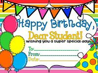 Free birthday certificates in color and b Birthday pencil toppers, too!
